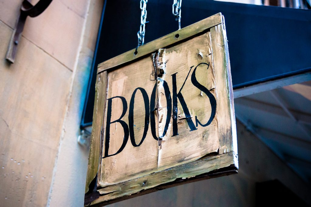 A picture of an old book shop sign