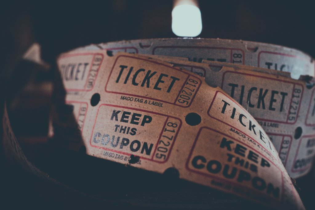 A picture of cinema admission tickets