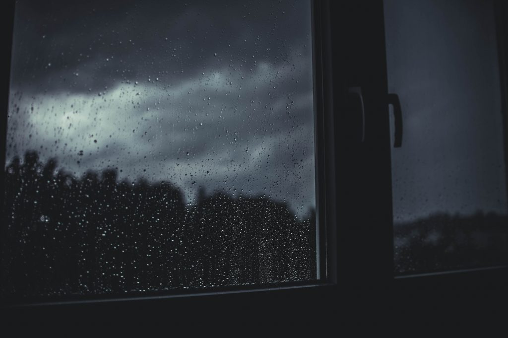 A picture of a dark window