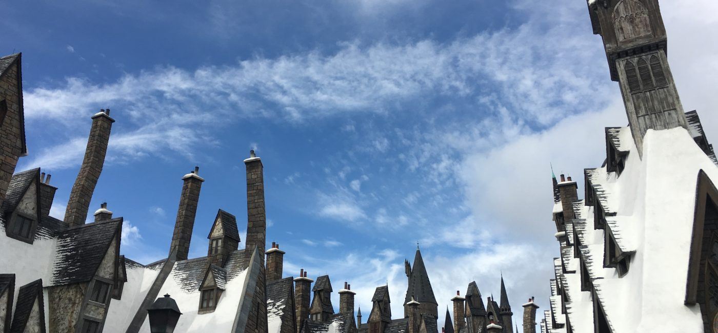 A picture of rooftops from the Harry Potter franchise