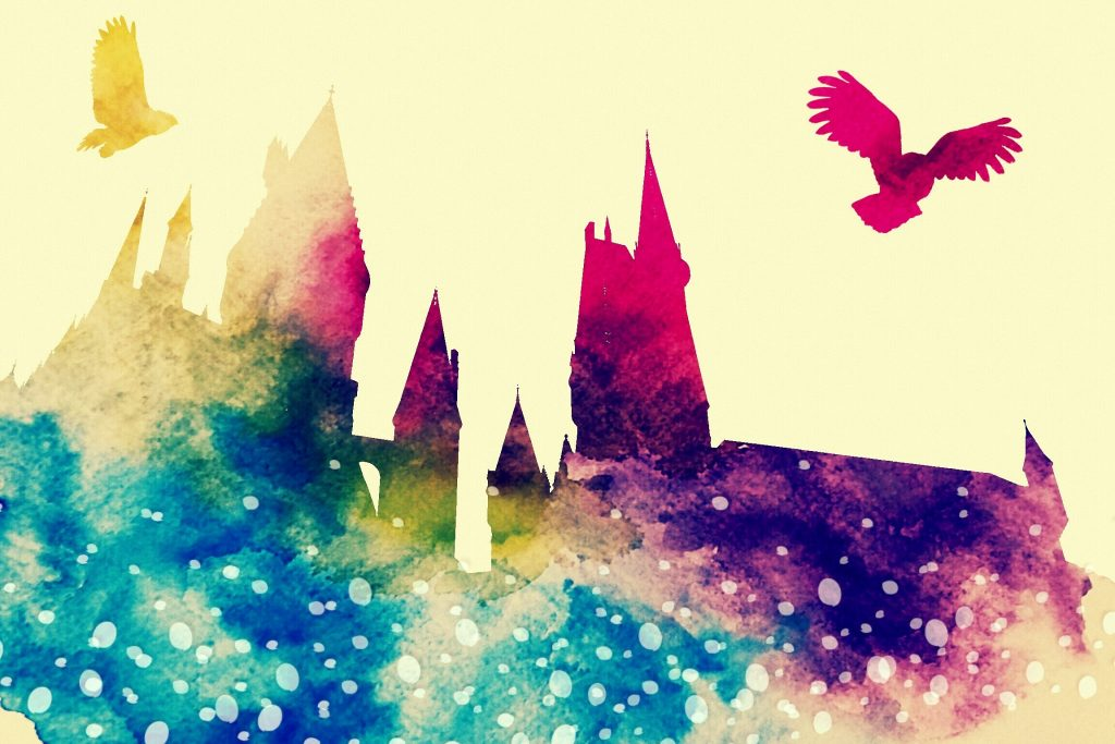 A colourful picture depicting aspects of the Harry Potter franchise