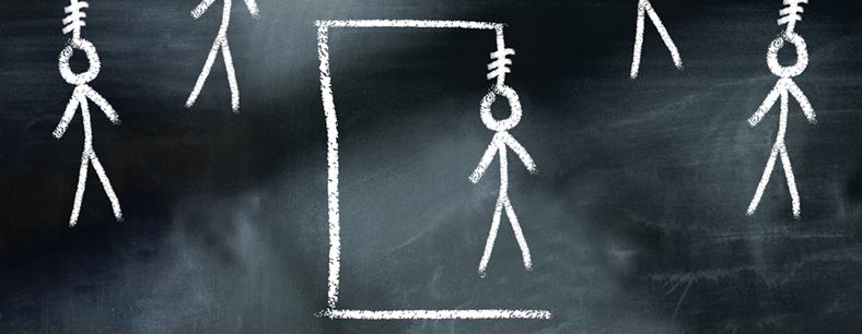 A picture of a chalk hangman