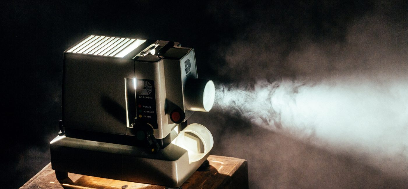 A picture of a film projector projecting