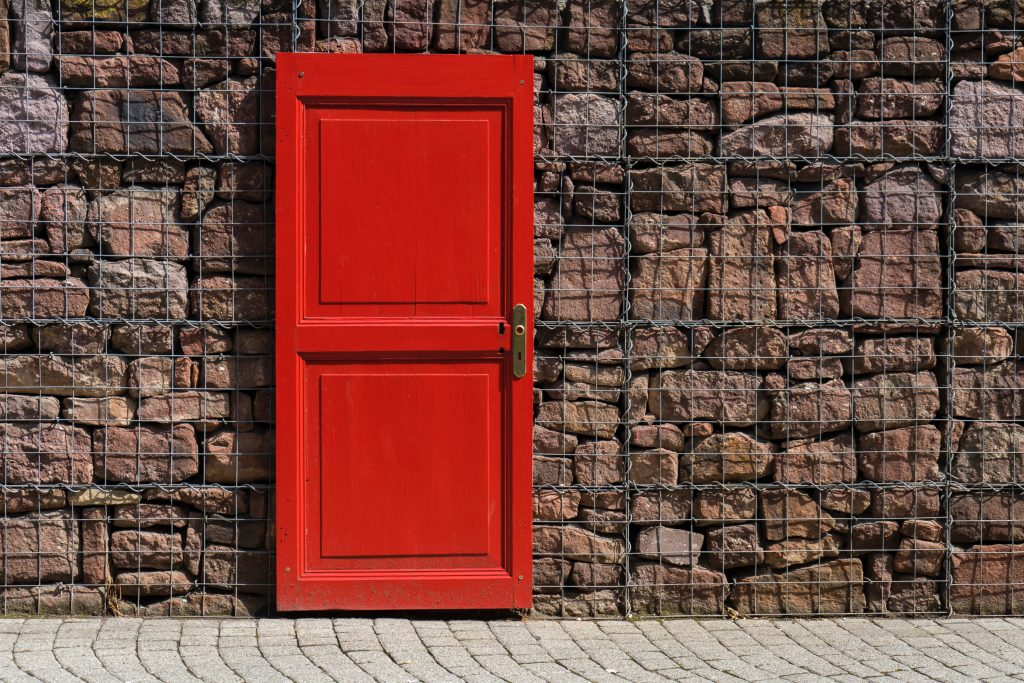 A picture of a blood red door